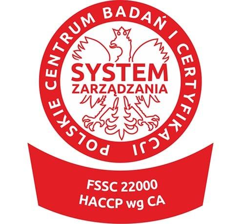 Certyfikat systemu HACCP