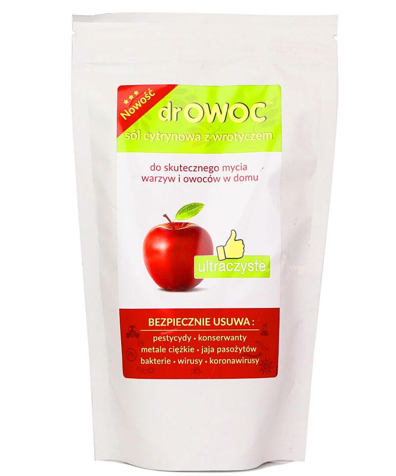 Dr Owoc - Sól cytrynowa z wrotyczem do skutecznego mycia warzyw i owoców w domu.