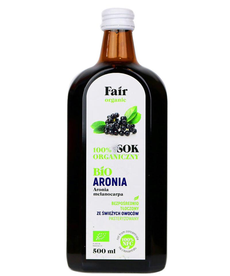 Sok bezpośrednio tłoczony ze świeżych owoców aronii z certyfikowanych gospodarstw ekologicznych.