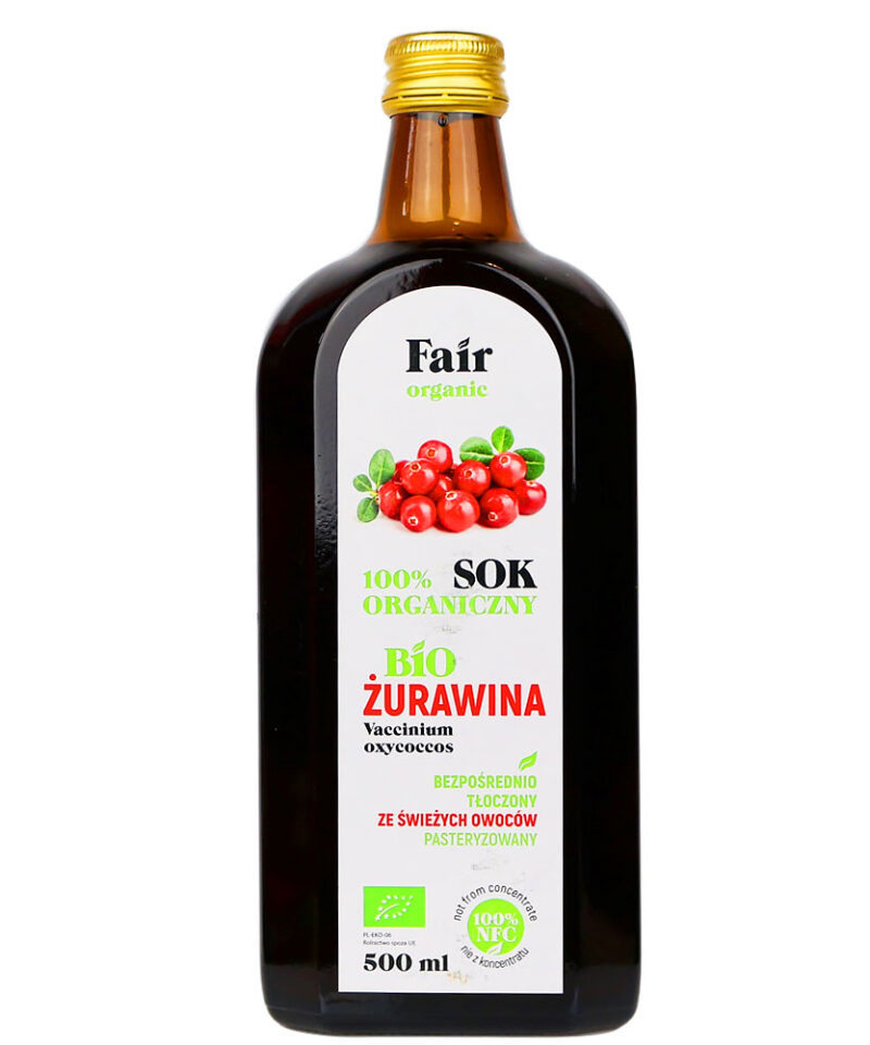 Sok bezpośrednio tłoczony ze świeżych owoców żurawiny z certyfikowanych gospodarstw ekologicznych.
